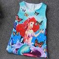I leebay 2017 cabritos del verano de la princesa de las muchachas vestidos de los bebés de la mariposa impresión elsa anna vestido de los niños de dibujos animados traje vestidos