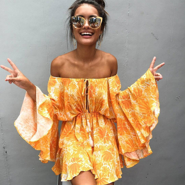 e5777483b54 ArtiMiss Women Autumn Off Shoulder Playsuits 2017 Long Sleeve Flare Print Yellow  Playsuit Casual Loose Streetwear