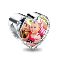 Wholesale Heart Photo Charm Fit Bracelet Crystal Charms DIY Jewelry