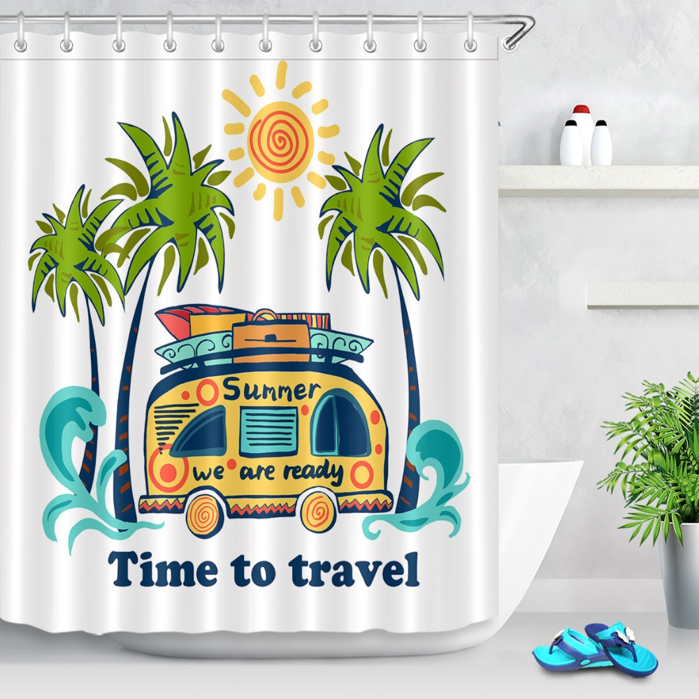 lb happy camper shower curtain sun tree travel car waterproof mildew proof polyester fabric bathroom curtains for home decor