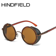 Hindfield Vintage classic steampunk goggles men fashion womens sunglasses gothic round sun glasses reflective lens O191