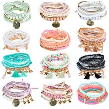 16 Design 2019 Bohemian Ethnic Multilayer Vintage New Beads Bracelets Boho Statement Tassel Pearl Charms Wrap Bracelet Bangles