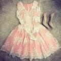 2016 Платья Dress Женщины Моды Сетка Вышивка Розовый Vestidos Sexy С Длинным Рукавом V-образным Вырезом Платье-Де-Феста