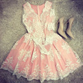 2016 Dresses Dress  Women Fashion Mesh Embroidery Pink Vestidos Sexy Long Sleeve V-Neck Vestido De Festa