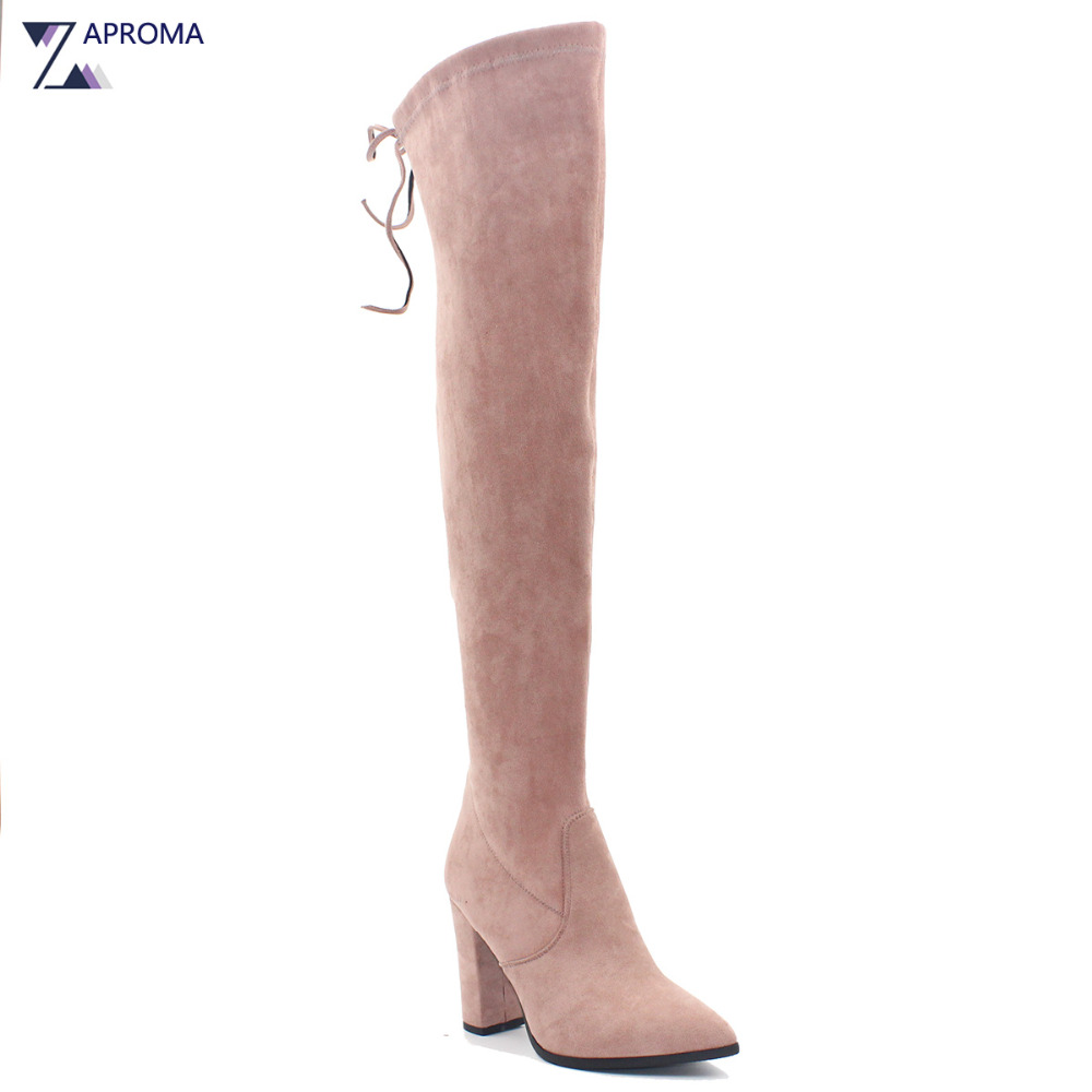 Women Lace Up Suede Block Heel Boots Over the Knee Pointed Toe Winter Spring Chunky Heel Pink Brown Black Navy Blue Velvet Shoes коврик для ванной iddis curved lines 50x80 см 402a580i12 page 2