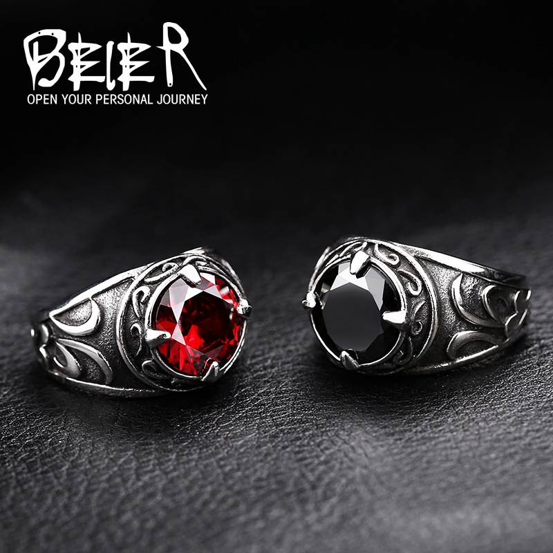 Beier 316L Stainless Steel Viking Men Ring Knot Rune Norse Jewelry Exquisite Ring LLBR8-270R