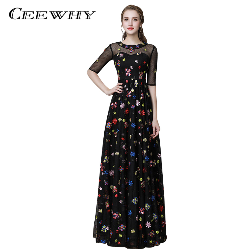 CEEWHY O-Neck Floral Embroidery Black Evening Dresses Long Prom Dresses Abiye Vestido de Noche Vintage Evening Dress Half Sleeve