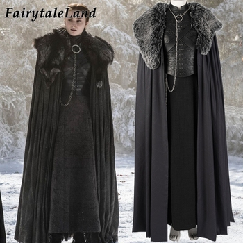 Sansa Stark Costume Halloween Cosplay Outfit Game of Thrones Season 8 Costume Custom made Winterfell Sansa Stark Dress Cloak фото