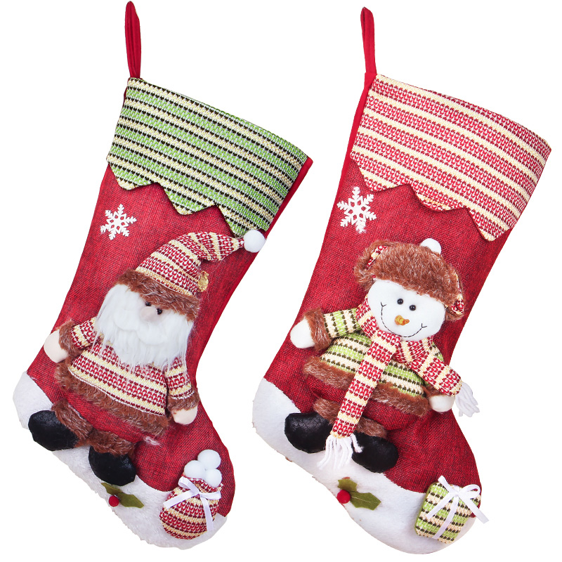 New Christmas Stocking Gift Bag Noel Reindeer Santa Claus Snowman natal Xmas Tree Candy Ornament Gifts Decorations new year