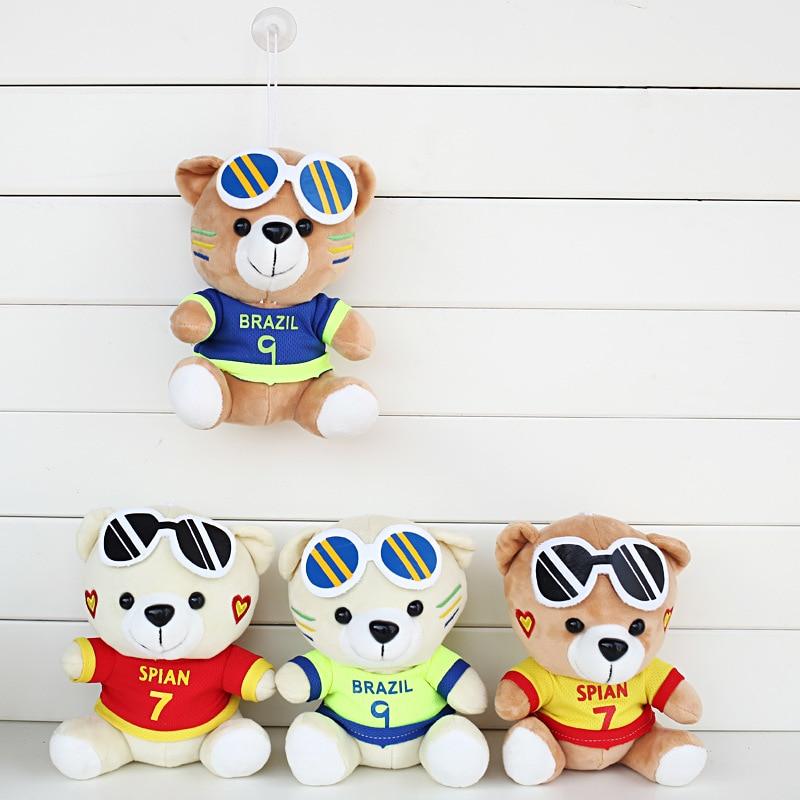 20cm Jersey Bear Plush Toys Kawaii Sports Teddy Bear With Glasses Plush Soft Stuffed Animals Toys Doll for Kids Children Gifts 5pcs lot pikachu plush toys 14cm pokemon go pikachu plush toy doll soft stuffed animals toys brinquedos gifts for kids children
