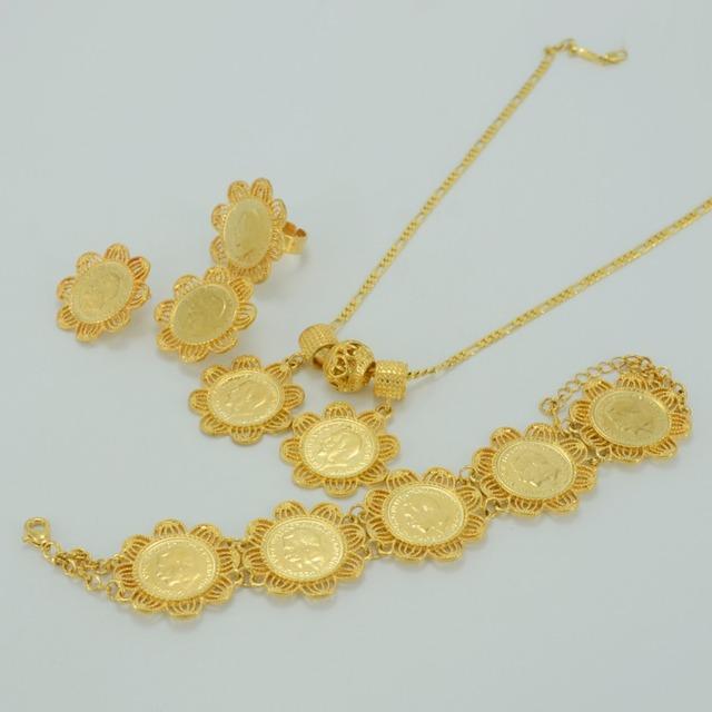 Nova da etiópia etiópia moeda definir banhado a ouro jóias de casamento da noiva, moedas étnicos habesha áfrica jóias das mulheres #032806