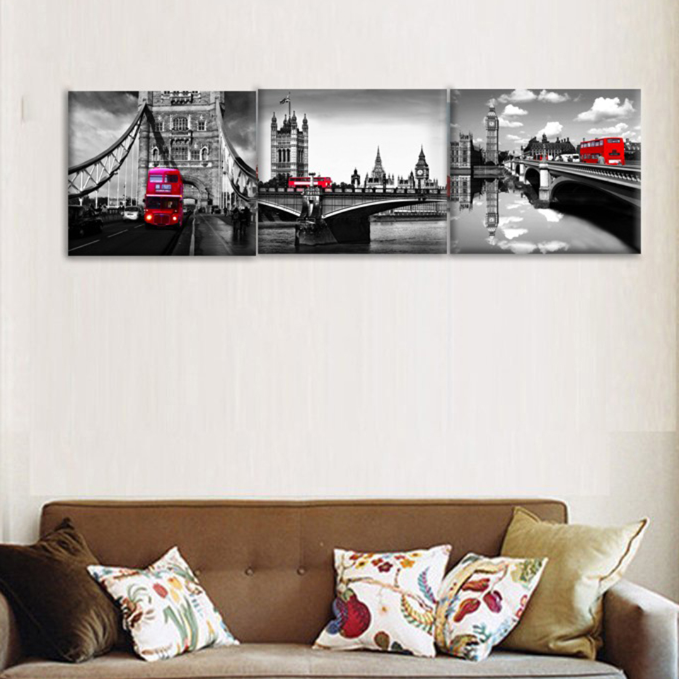 Us 3 74 40 Off Canvas Art Poster Print Painting Home Decor 3 Panel Black White London Bridge Red Bus Modular Wall Frame Picture For Living Room In