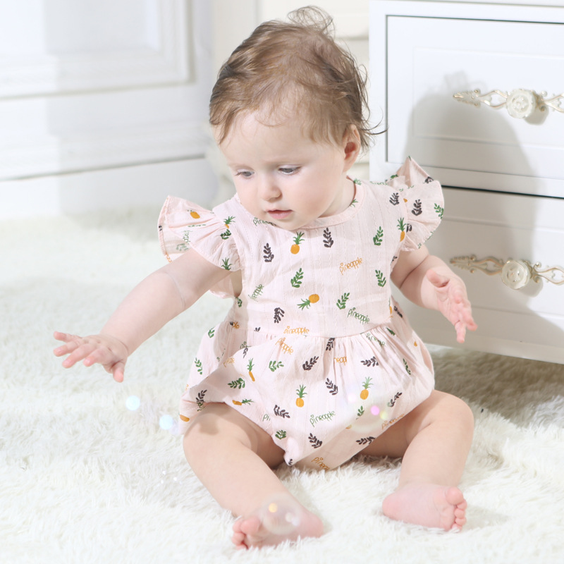 Toddler Baby Girls Clothes Summer Flying Sleeveless Pineapple Fashion Cotton Baby Bodysuit Soft Onesie Jumpsuit Baby Clothes