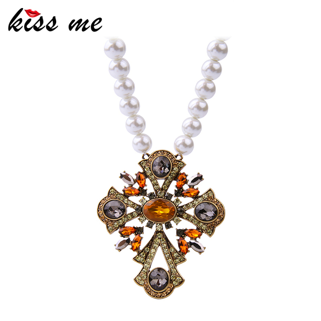 KISS ME Romantic Simulated Pearls Necklace New Design Brand Party Crystal Jewelry Necklaces & Pendants