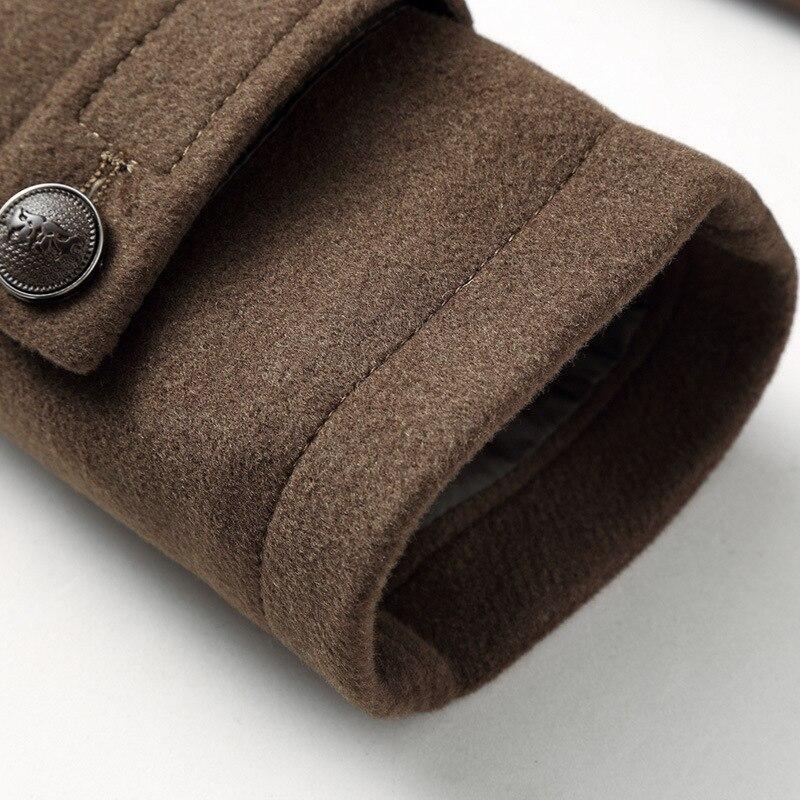 Mâle nouveau 2019 épais laine affaires décontracté hommes manteau automne hiver pardessus mode mélanges marque vêtements MOOWNUC épissage - 4