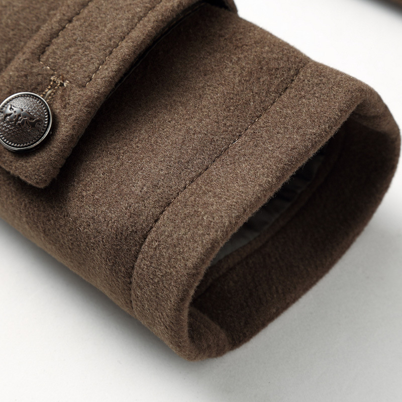 Male New 2019 Thick Woollen Business Casual Men's Coat Autumn Winter Overcoat Fashion Blends Brand Clothing MOOWNUC Splicing - 4