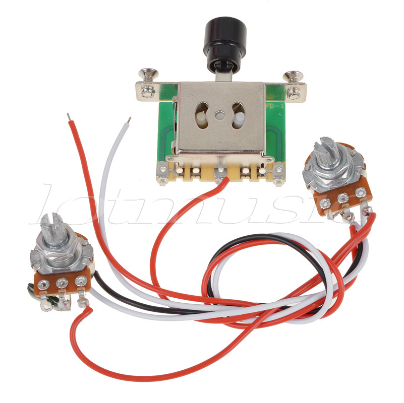 Kmise Prewired Guitar Wiring Harness 500k Pots 5 way Switch For Tele replacement bead