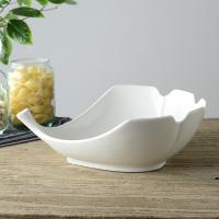 Leaf Shape Ceramic Serving Bowl Ornamental Porcelain Vegetables And Fruits Tray Dinnerware And Houseware For Home