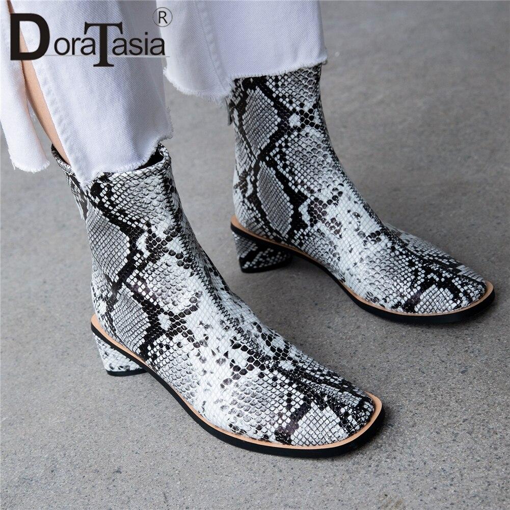 DORATASIA كبير حجم 33 41 جديد أزياء الساخن بيع جلد طبيعي جودة الجوارب امرأة الأحذية سستة مربع حذاء مزود بفتحة للأصابع امرأة الأحذية-في أحذية الكاحل من أحذية على  مجموعة 1