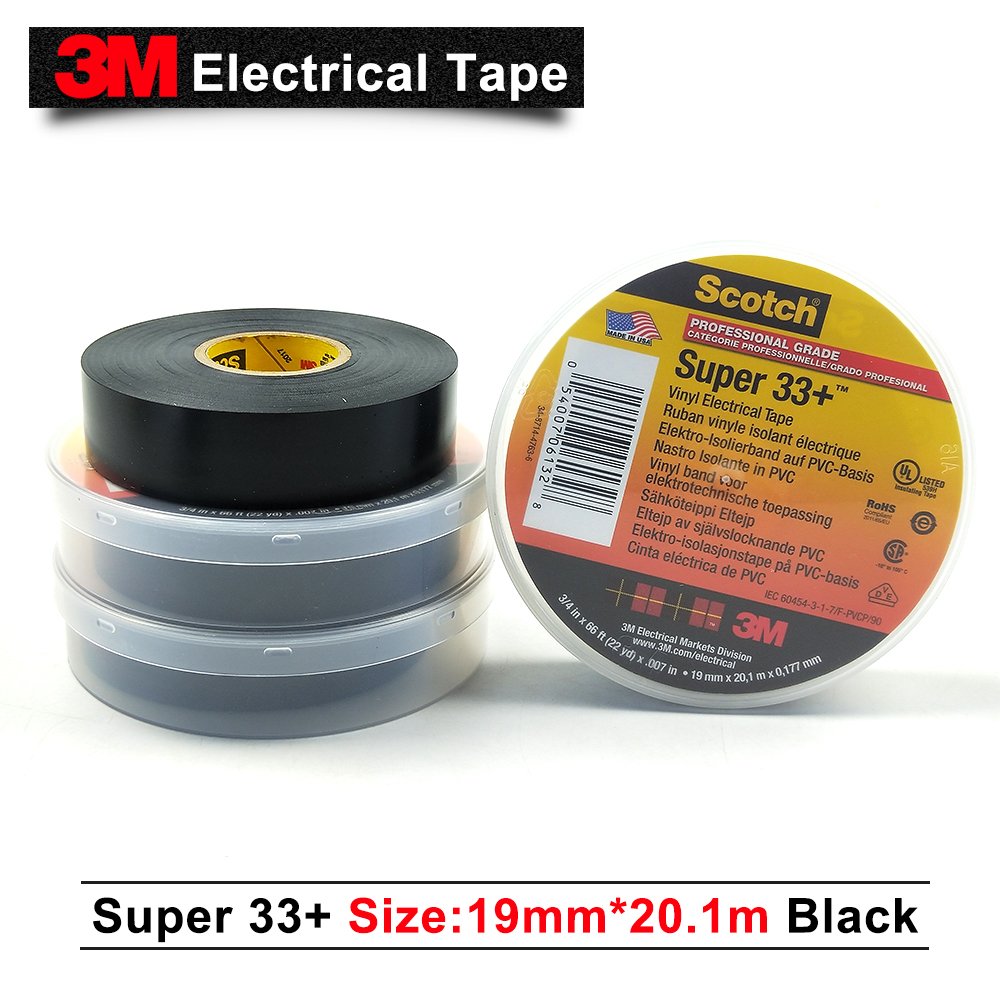 US $688 0 |3m original scotch super 33+ electrical insulation tape pvc tape  rubber black 33+ 3M single sided tape 19MM*20 1M 100 rolls/case-in Tape