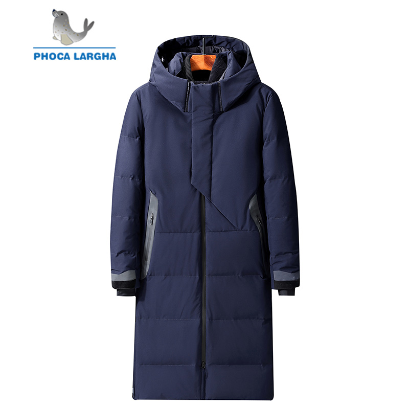 2019 Men's Hooded Extra Long Duck   Down   Padded Jackets Man Thick Winter   Down     Coats   Male Fashion Long Overcoat Keep Warm Outerwear