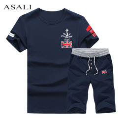 Asali 2017 printed t shirt short set men 5xl slim fit summer suit tracksuit men tee.jpg 250x250