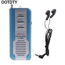 Mini Portable Auto Scan FM Radio Receiver Clip With Flashlight Earphone DK-8808 mini portable auto scan fm radio receiver clip with flashlight earphone dk 8808