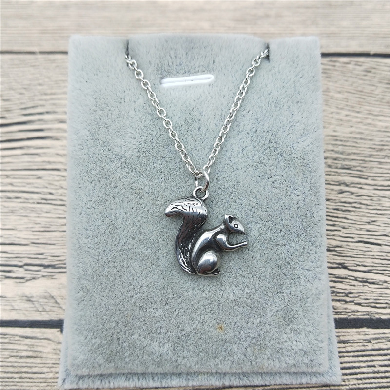 Chandler Cute Squirrel Pendant Necklace Tiny Small Charm Stainless Steel Animal Charms Chain Clavicle Coller Sale on Aliexpress