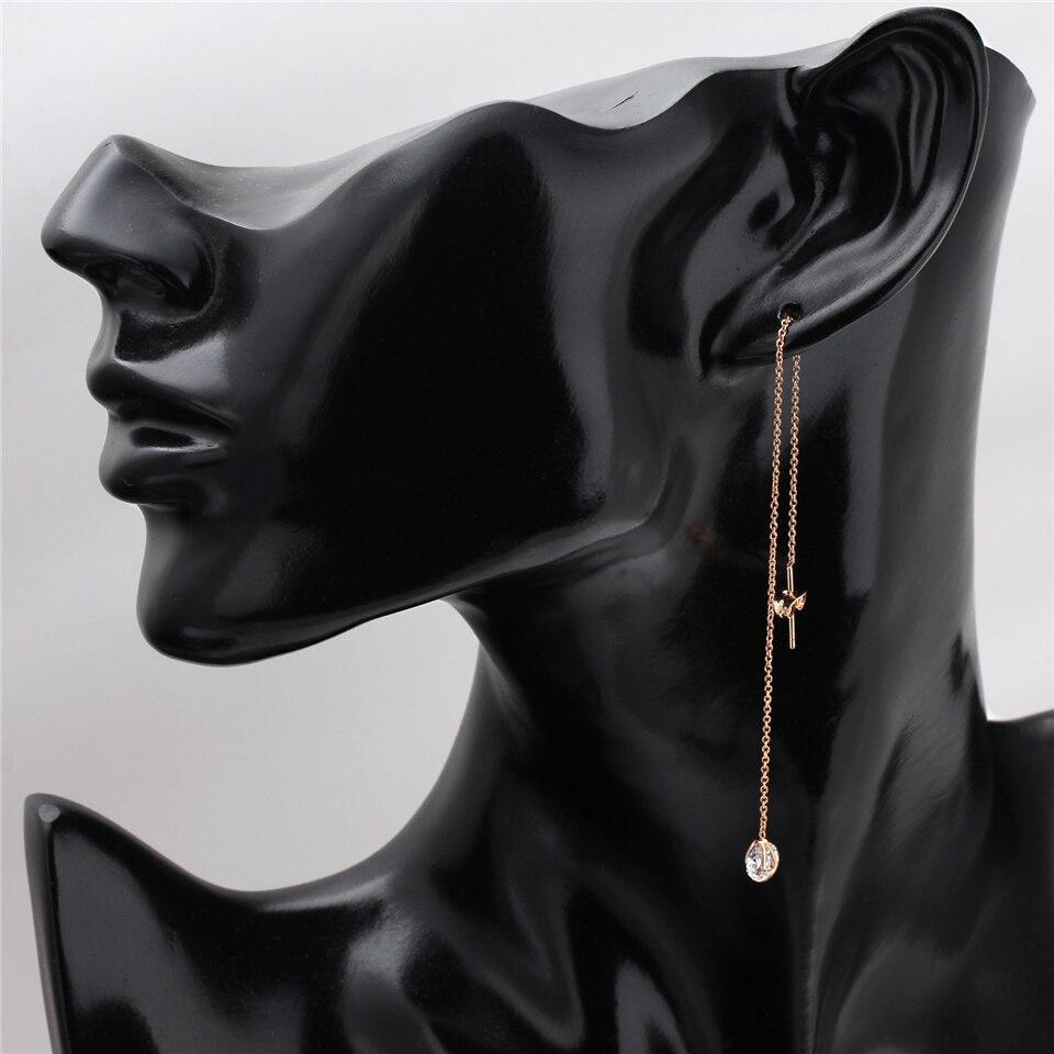 g PISSENLIT Silver Long Drop Earrings Round Gold Silver Earrings Women Jewelry New Fashion Grace Woman Korean Jewelry Girls Gifts