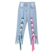 ab63960408a2 Micro-Haut-Parleur Pantalon Femmes de Grande Taille Élastique Coton Denim  Jeans sept pantalon Femelle 2018 Irrégulière Fringe sy.