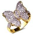 Anéis borboleta bonita banhado a ouro com zircão cúbico Anel de dedo anéis do partido para as mulheres de alta qualidade Frete grátis