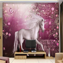 beibehang Custom home indoor photo wallpaper wall stickers European pastoral Unicorn White Horse Prince sofa background 3D mural