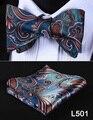 Bolso Quadrado Festa de Casamento 2016 Novo Design Clássico Homens Paisley Bow Tie Bowtie Lenço De Seda Do Casamento Auto Set # L5