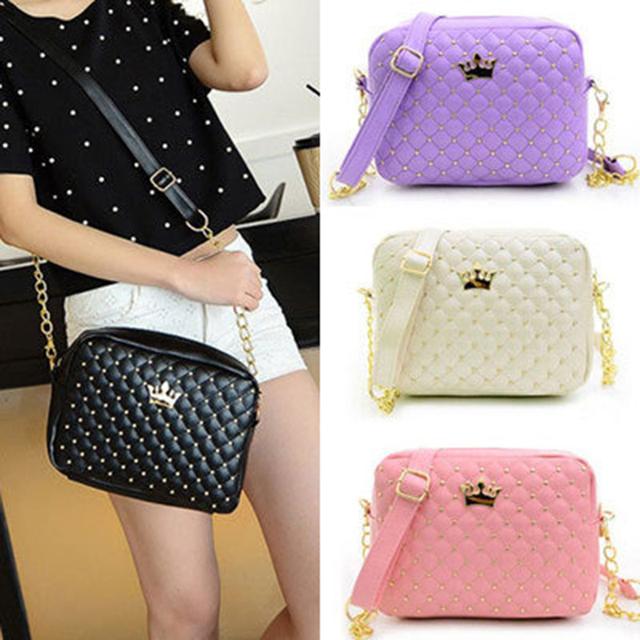 2017 Women Handbags Fashion Women Messenger Rivet Chain Shoulder Bag High Quality PU Leather Crossbody Small Flap Female  Bags