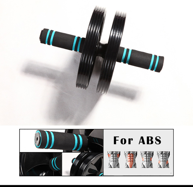 Quality Double-wheel Ab Abdominal Press Silent Wheel Rollers Crossfit Exercise Equipment for Body Building Fitness Gym Free Pad