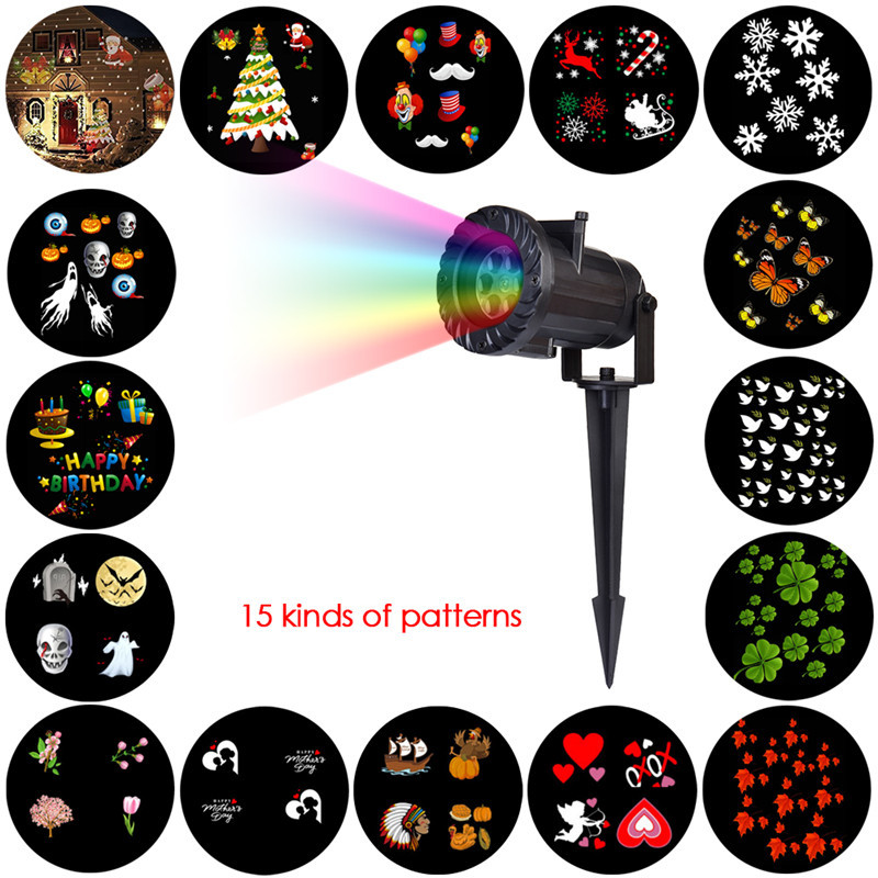 HUANJUNSHI 15 PCS Projector Light RGB Lawn Laser Lamp Waterproof Outdoor Lighting DJ Disco Party Light For Christmas Halloween rg mini 3 lens 24 patterns led laser projector stage lighting effect 3w blue for dj disco party club laser