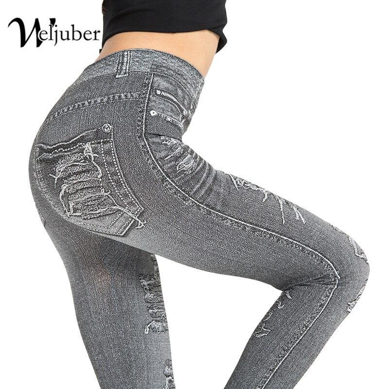 Weljuber New Autumn Women Print Leggings Mock Pocket And