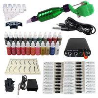 Rotary Tattoo Machine Permanent Makeup Pen Kit 50 Needle Power Supply 23 Ink Set permanent makeup machine
