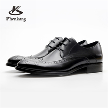 Genuine cow leather brogue wedding Business mens casual flats shoes vintage handmade oxford shoes for men 2019 black burgundy цены
