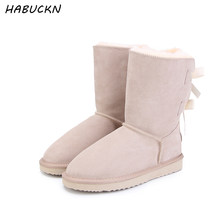 140f9dd4ae HABUCKN 2018 Marca de Alta Qualidade mulheres da neve do inverno botas de  couro genuíno snowboots