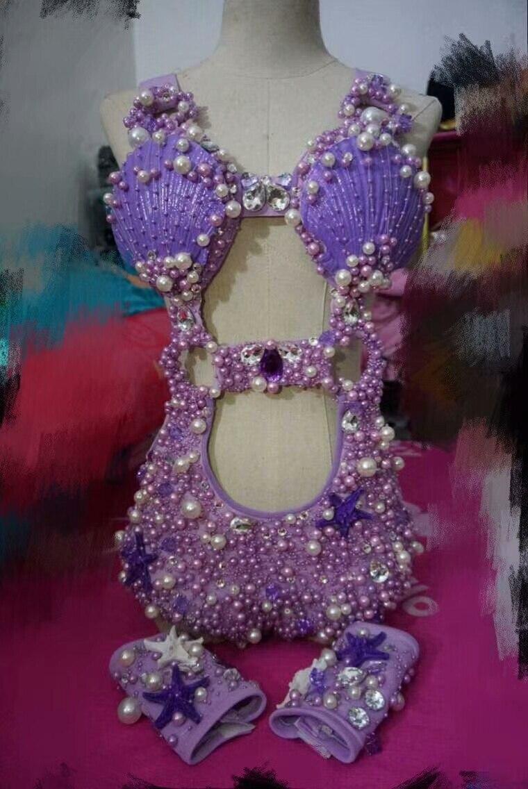 Женский костюм с жемчужинами и кристаллами, комплект из трех предметов, блестящий женский комбинезон с кристаллами, сексуальный костюм для ... - 5