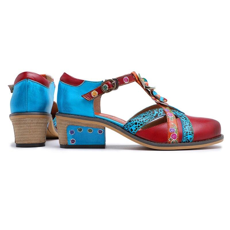 Bombas Verano Decoración Bohemio Zapatos De Flores Metal Mano A Real 2019 Red Tacones Hueco Cuero Hebilla Sexy Hecho Patchwork 5YpwBqq