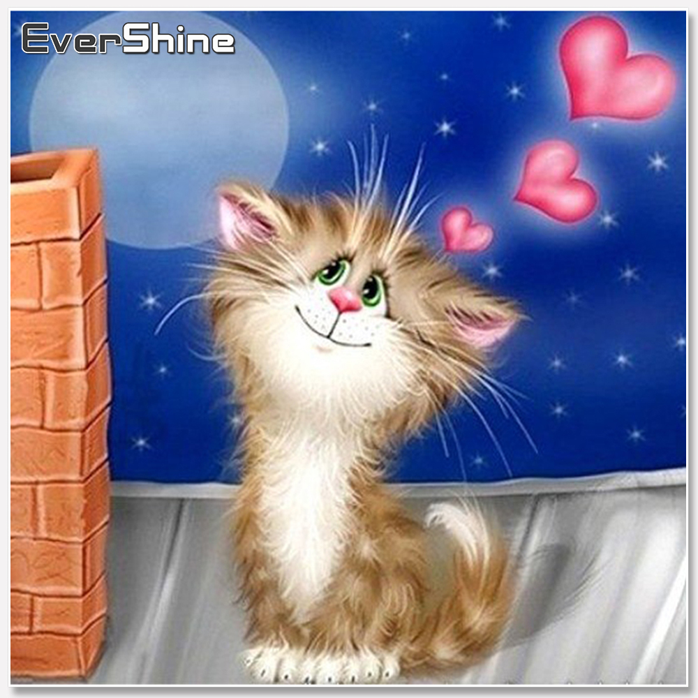 EverShine Diamond Embroidery Cat Full Kit Square Diamond Painting Cartoon Picture Rhinestone Diamond Mosaic Sale Children Gift