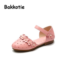 Bakkotie 2017 New Fashion Summer Genuine Leather Baby White Princess Shoe Kid Flower Cute Girl Shoe Sandals Child Hollow Bead
