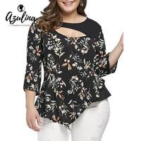 AZULINA Plus Size Blouse Lolita Style Tiny 3 4 Sleeves Floral Asymmetric Women Blouses Shirts Casual