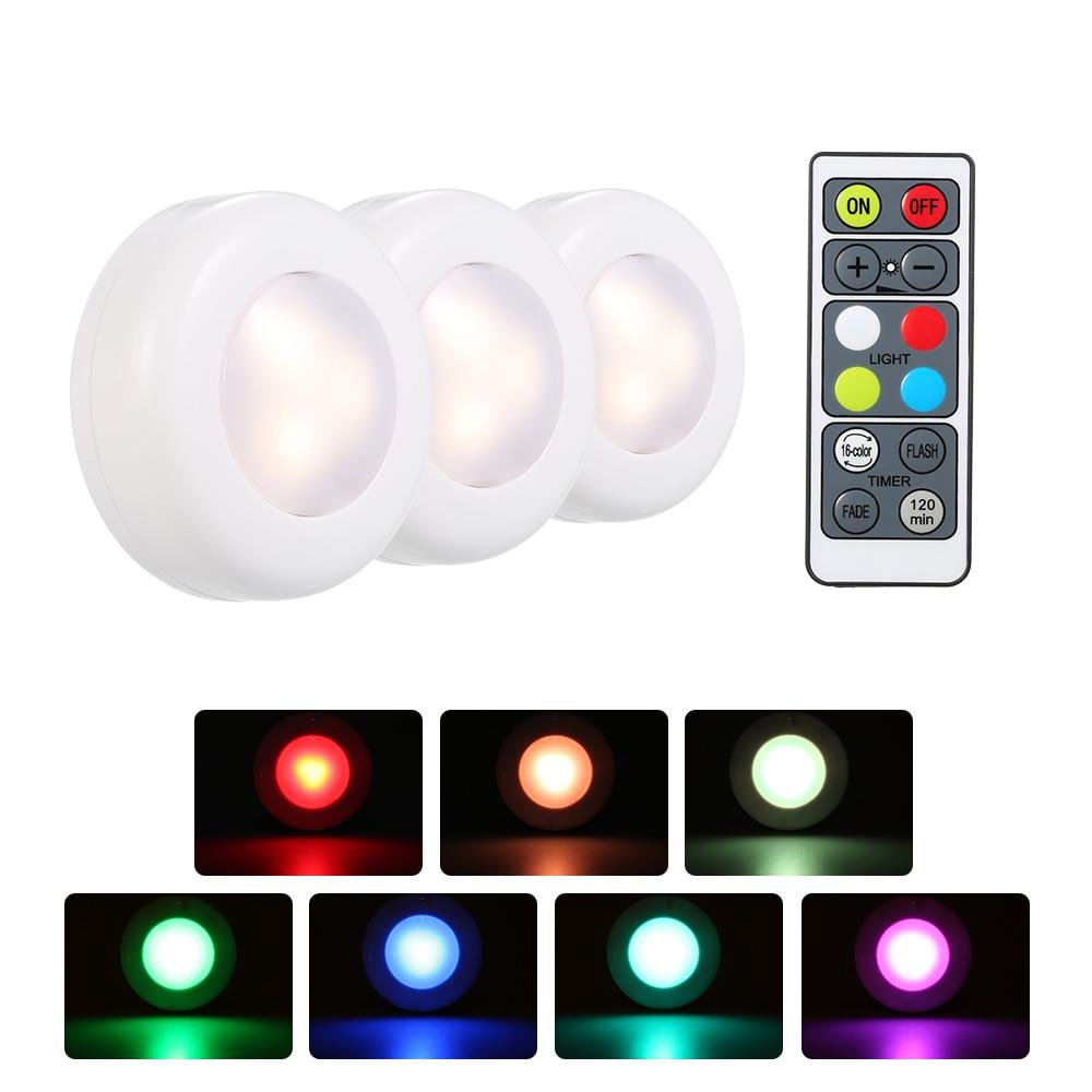3 6 Pcs16 Color Rgb Led Under Cabinet Lamp Puck Light