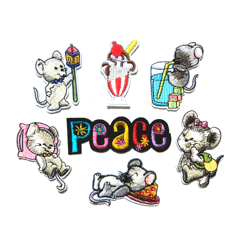 Trumpet Mouse Embroidery Patches diy Cartoon Animal Clothes Decoration Patches D-005