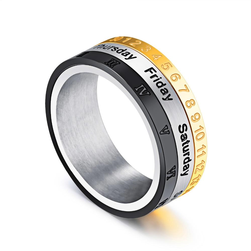 Titanium steel band rotatable ring calendar week roman for Table titanium quadra 6