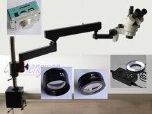 Fyscope 3.5x 90x braço articulando zoom microscópio estéreo 4 zona 144led + hdmi 1080 p 2.0 m câmera