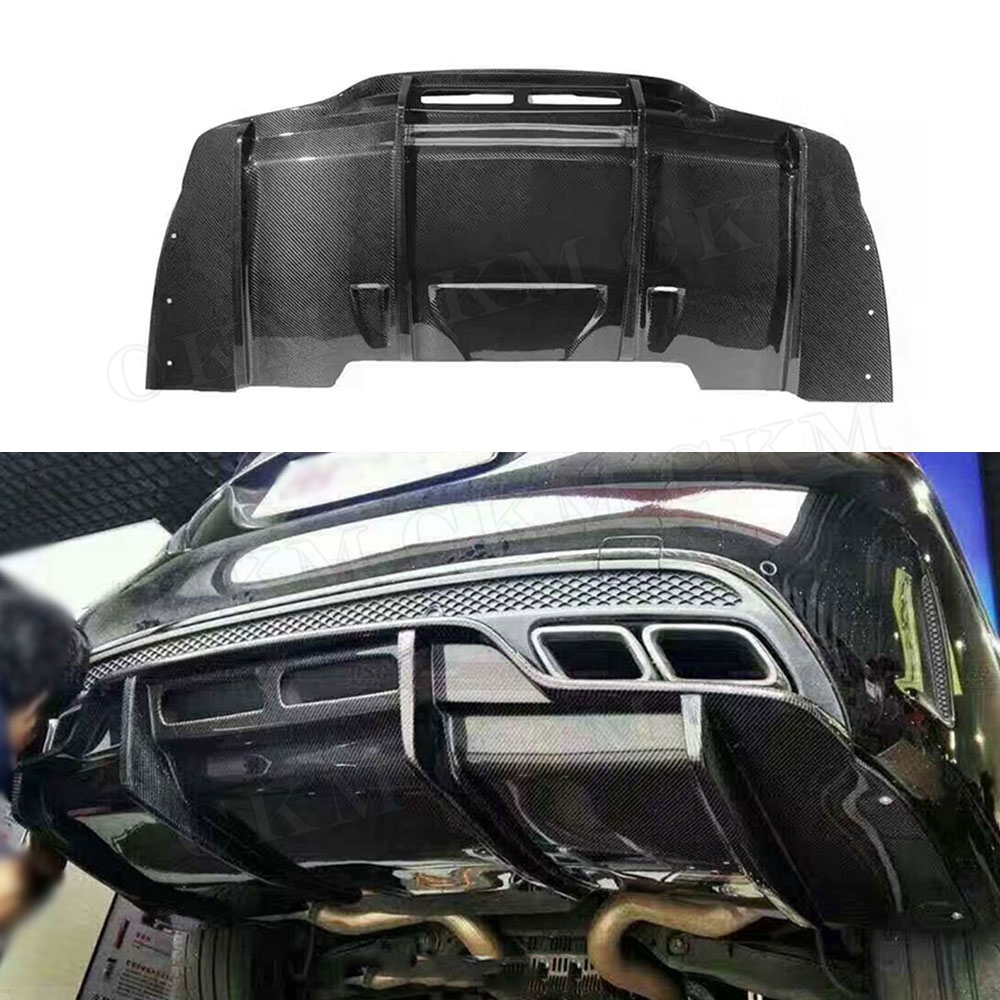 For Benz C63 P Style Carbon Fiber Rear Bumper Lip Diffuser for Mercedes Benz C Class W205 C205 C63 AMG Coupe 2015 2016 2017